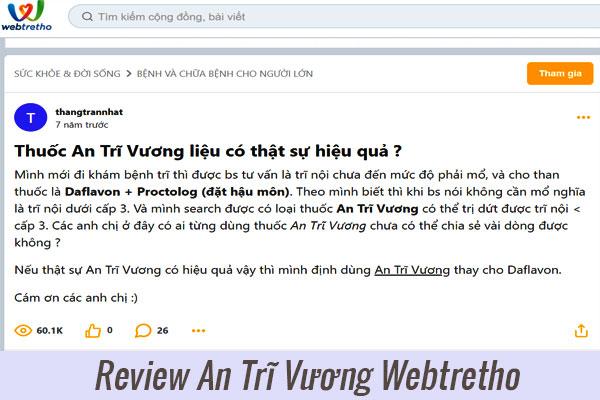 Đánh giá An Trĩ Vương từ người dùng Webtretho