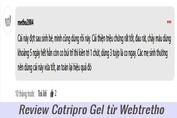 Review Cotripro Gel từ người dùng Webtretho