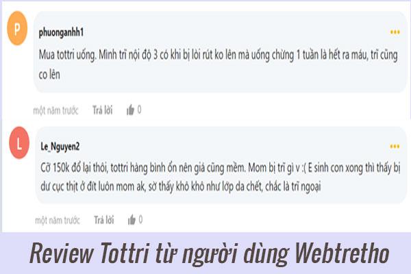 Review Tottri từ người dùng Webtretho